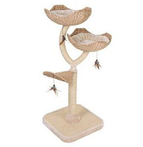 cat_climbing_structures_Chic_flower_shaped_cat_tree_with_thick_sisal_wrapped_metal_pillars_and_woven_platforms